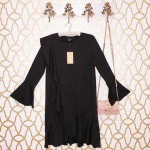 NWT Halogen Black Ruffle Bell Sleeve LBD Dress